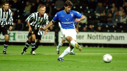 Pablo Counago equalises from the penalty spot in Ipswich Town's 2-1 defeat at Notts County in 2003.
