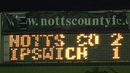 The final result at Meadow Lane in the Carling Cup match of 16 years ago.