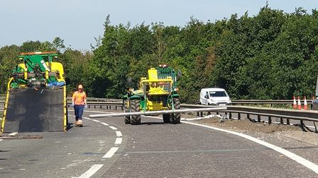 A crane had to be brought down to remove the beams Picture: NORFOLK AND SUFFOLK ROADS AND ARMED POLI