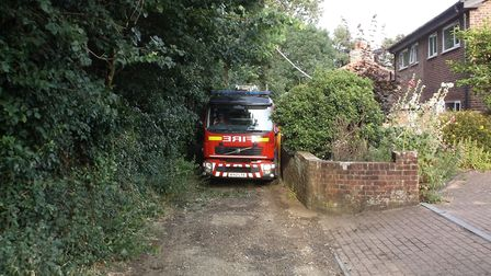 A fire engine became trapped in Woodbridge over the weekend Picture: PETER BACON