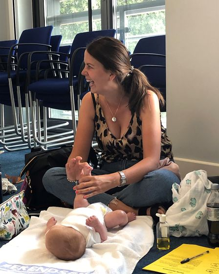 Kerry Rowley and Olivia at Colchester Hospital's neonatal baby massage sessions Picture: ESNEFT