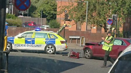 A Suffolk police dog unit has been involved in a collision with a civilian car in Stowmarket Picture