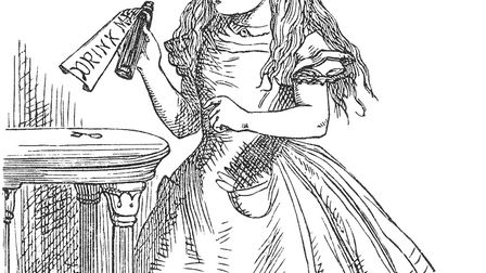 John Tenniel's illustration of Alice with the bottle marked 'Drink Me' Photo: Moyses Hall