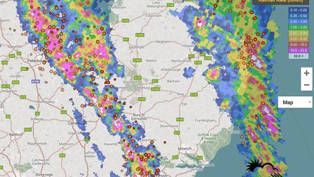 Two thunderstorms shook East Anglia overnight Picture: WQRADAR