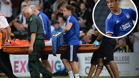 Tristan Nydam was stretchered off at Notts County on Tuesday night. Picture: PAGEPIX