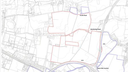 The red line shows the boundary of the proposed Orwell Green garden village development - bounded by