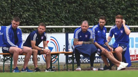 Freddie Sears, Alan Judge, James Norwood, Gwion Edwards and Jon Nolan watch from the sidelines. Pict