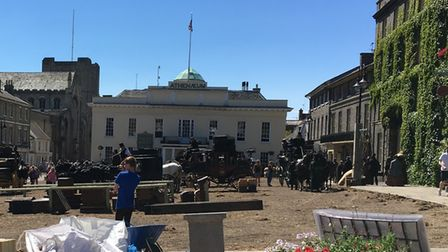 The film crew transform Bury's Angel Hill into a bustling London street for The Personal History of