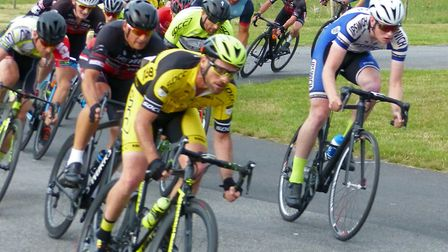 Stowmarket & District and Ipswich BC riders lead the supporting men's race at Trinity Park. Picture: