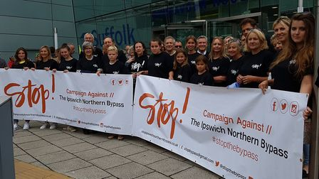 Stop the Northern Bypass protest outside Endeavour House Picture: RACHEL EDGE