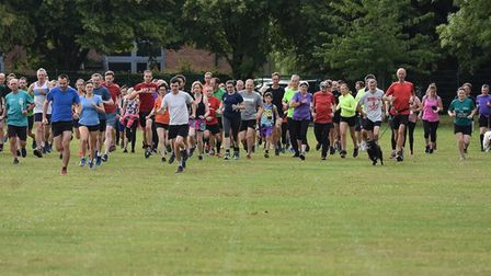 Runners set off at the start of the seventh staging of theThomas Mills parkrun, at Framlingham. Pict