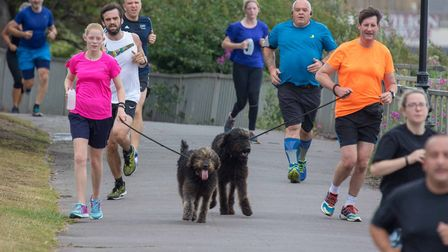 Dogs as well as runners are welcome at the weekly Clacton Seafront parkrun. Picture: CLACTON PARKRUN