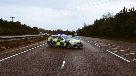 Police were called to the scene, on the A14 near Beyton, on Saturday morning Picture: NORFOLK AND SU