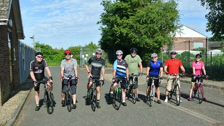 The team of eight cyclists from UK Power Networks took on the challenge Picture: UK POWER NETWORKS