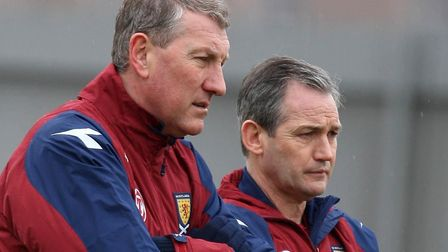 Terry Butcher and George Burley pictured in 2009, when the latter was coaching Scotland and Butcher