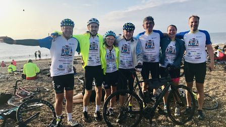 Fram Farmers boss Richard Anscombe, third from right, with others who completed a 115-mile charity c