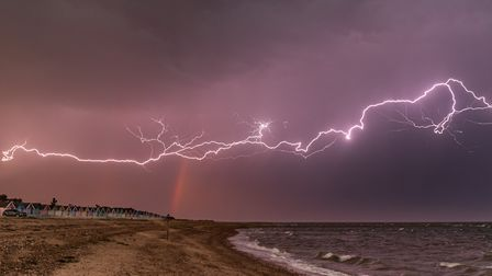This talented photographer managed to capture lightning and a rainbow above Mersea Island Picture: S