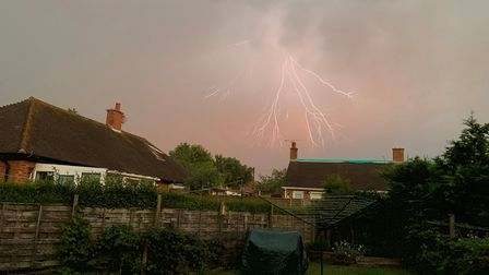 Beautiful lightning picture over the Chantry estate in Ipswich Picture: GERRY GARDINER