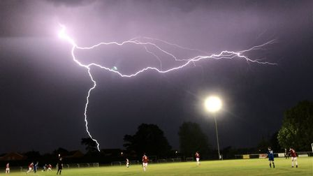 Olly Page took this stunning picture of the storm while coaching Felixstowe and Walton versus Branth