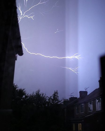 Residents in Ipswich were given a dramatic lightshow as the thunderstorm struck the region Picture: