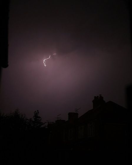 Last night's thunderstorms captured on camera in Ipswich Picture: @CURTISBEADLEPHOTOGRAPHY