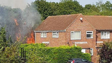 The fire in Talbot Road, Sudbury. Picture: COURTESY OF CLIVE SKINNER