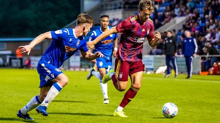 Emyr Huws (right) has been involved in every Ipswich Town matchday this pre-season. Photo: Steve Wal