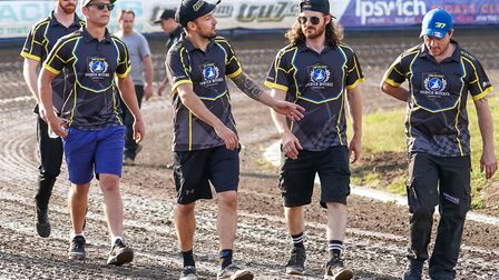 The Witches team walk the track against Poole two weeks ago. It will be another hot one against Wolv