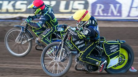 Chris Harris ahead of Josh Grajczonek in heat 10 against Poole when the Witches lost recently. Pi