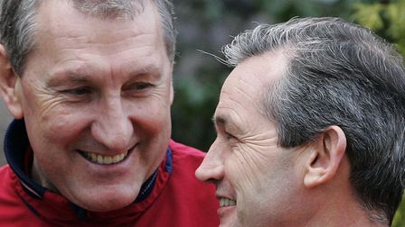 Terry Butcher, left and George Burley will be at Needham Market on Saturday. Photo: PA