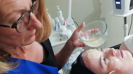 Nicola applies a mask towards the end of the treatment