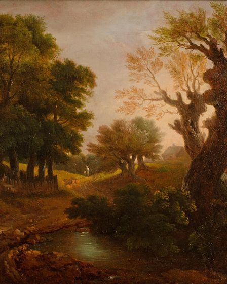 Wooded Landscape with Figures, Cottage and a Pool, by Thomas Gainsborough (1727 – 1788, ) part of th