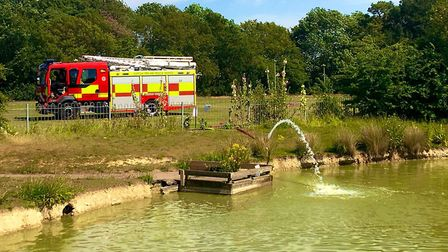 A fire crew was called to save fish in a Haverhill pond due to the searing heat Picture: SUFFOLK FIR