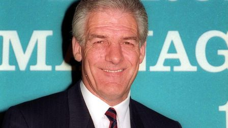 John Lyall, receiving the manager of the season award in London in May, 1992, after guiding Ipswich