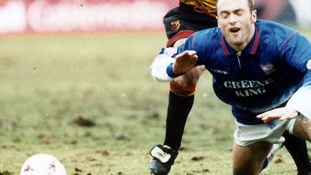 Simon Milton, who scored for Ipswich in their 1-1 draw at Cambridge in March, 1992.
