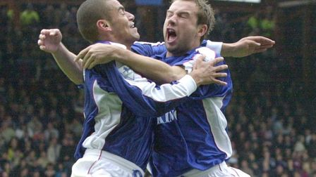 Marcus Stewart celebrates a goal as Town drew 1-1 with West Ham back in 2000. Picture: ARCHANT