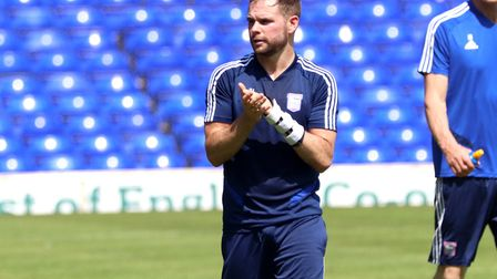 Alan Judge claps to the fans during the Ipswich Town open day training Picture: ROSS HALLS