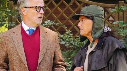 Steve Taplin as Alan Bennett and Jenni Horne as Miss Shepherd in the Gallery Players production of L
