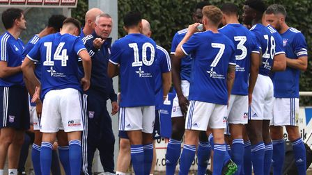 Ipswich Town manager Paul Lambert gives his team pre-season instructions in Germany. Photo: Ross Hal