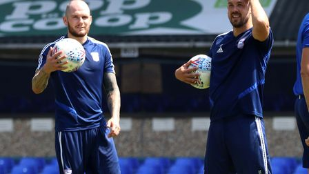 James Norwood and Luke Chambers during the Ipswich Town open day at Portman Road Picture: ROSS HALLS