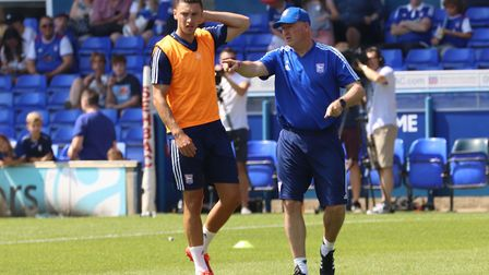 Paul Lambert giving out instructions to Jon Guthrie at the Ipswich Town open day Picture: ROSS HALLS