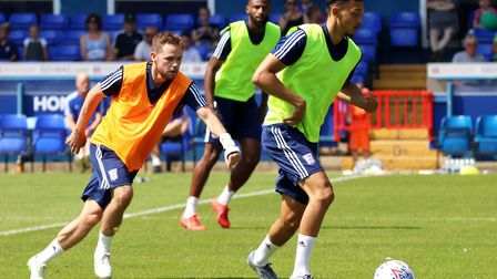 Alan Judge and Andre Dozzell in action during the Ipswich Town open day Picture: ROSS HALLS