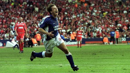 Martin Reuser celebrates during Town's famous play-off final win over Barnsley back in 2000 - Terry
