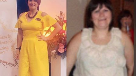 Kelly Cooper before her weight loss (right) and after Picture: KELLY COOPER