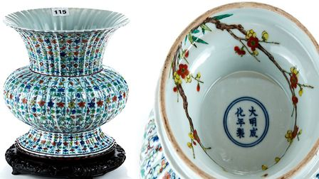 There was brisk bidding on the internet and the sale room in Felixstowe as this Chinese vase was sol