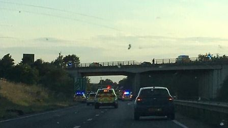 A car has crashed through barriers of the A11 and onto the A14 Picture: MICHAEL DOWLING