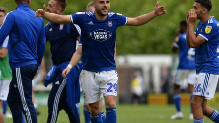 Luke Garbutt celebrates Town's 1-0 win at Burton Abion, on the opening day of the season. Picture: P
