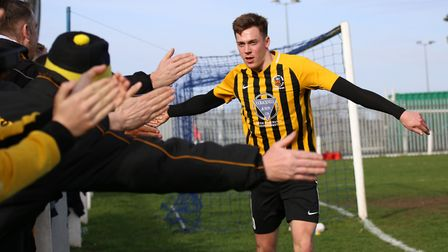 Stowmarket Town hotshot Josh Mayhew was on target in their opening day draw at FC Clacton Picture: D
