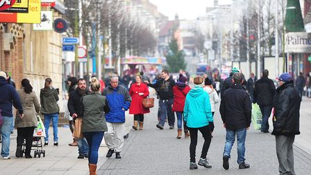 Despite its challenges, Lowestoft town centre is frequently busy with shoppers. Picture: NICK BUTCHE
