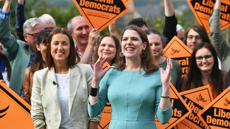 Liberal Democrat leader Jo Swinson and new MP Jane Dodds were celebrating after the Brecon victory,